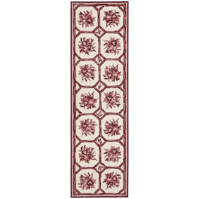 Kendall Hand-Hooked Ivory/Red Area Rug Rug Size: Runner 23 x 8