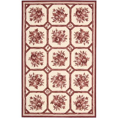 Kendall Hand-Hooked Ivory/Red Area Rug Rug Size: Rectangle 36 x 56