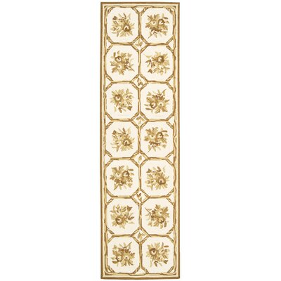 Kendall Hand-Hooked Ivory/Yellow Area Rug Rug Size: Runner 23 x 8