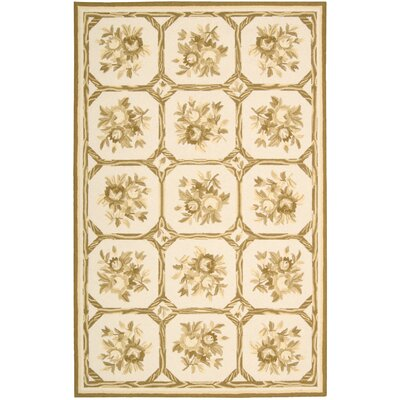 Kendall Hand-Hooked Ivory/Yellow Area Rug Rug Size: Rectangle 26 x 42