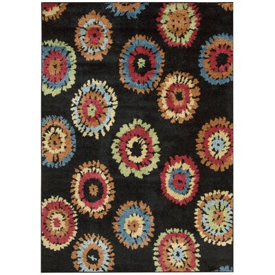 Perception Black Area Rug Rug Size: 53 x 75
