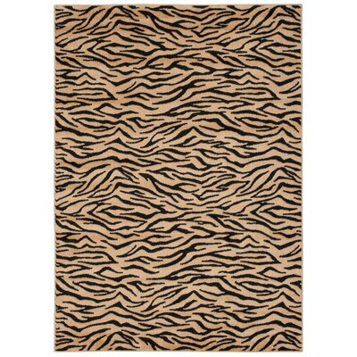 Prestige Ivory and Black Rug Rug Size: 36 x 56