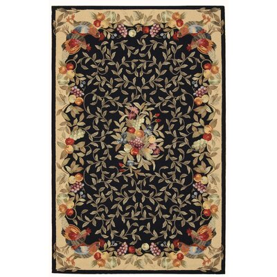 Country Heritage Hand-Hooked Black Area Rug