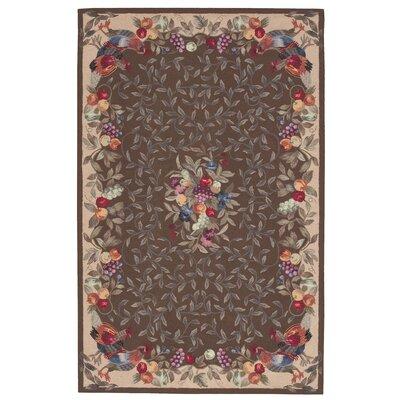 Kendall Hand-Hooked Khaki Area Rug Rug Size: 8 x 11