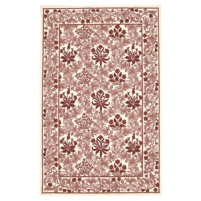 Kendall Hand-Hooked Ivory/Red Oriental Area Rug