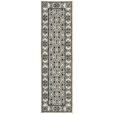 Country Heritage Hand-Hooked Black/White Area Rug Rug Size: Runner 23 x 8