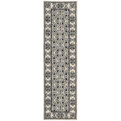 Ehrenfeld Hand-Hooked Black/White Area Rug Rug Size: Runner 23 x 8