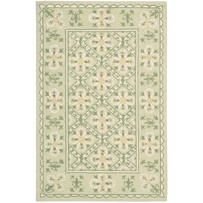 Country Heritage Hand-Hooked Green Area Rug Rug Size: 36 x 56