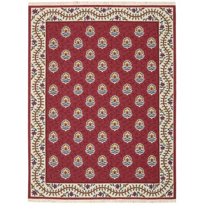 Nourmak Encore Hand-Woven Red Area Rug Rug Size: 56 x 75