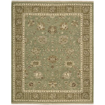 Nourmak Encore Hand-Woven Chocolate/Mint Area Rug Rug Size: 86 x 116