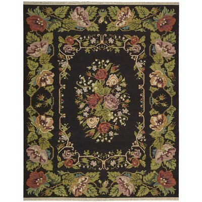 Nourmak Encore Hand-Woven Black Area Rug Rug Size: 56 x 75