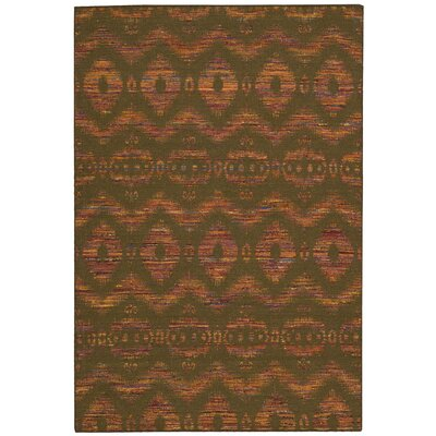 Spectrum Hand-Woven Flame/Chocolate Area Rug Rug Size: 53 x 75