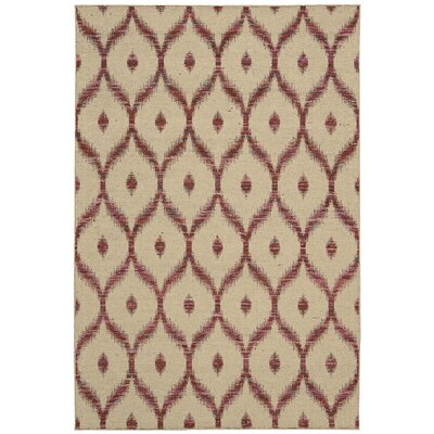 Pine Grove Hand-Woven Beige/Burgundy Area Rug Rug Size: Rectangle 53 x 75