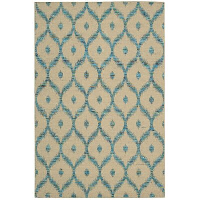 Pine Grove Hand-Woven Beige/Turquoise Area Rug Rug Size: Rectangle 53 x 75