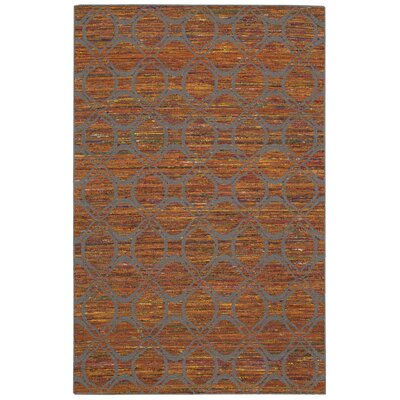 Spectrum Hand-Woven Flame/Gray Area Rug Rug Size: Runner 26 x 76