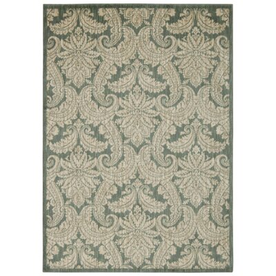 Tewkesbury Green/Ivory Area Rug Rug Size: Rectangle 93 x 129