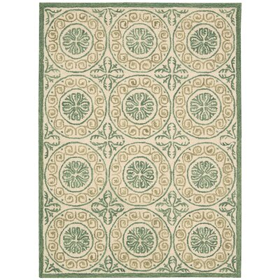 Tracie Green/Ivory Area Rug Rug Size: Rectangle 5 x 76