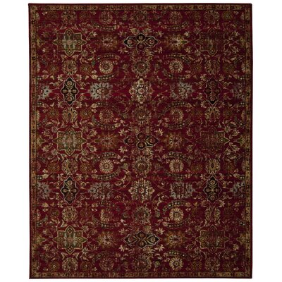 Eternal Red Floral Stem and Panel Area Rug Rug Size: 56 x 8