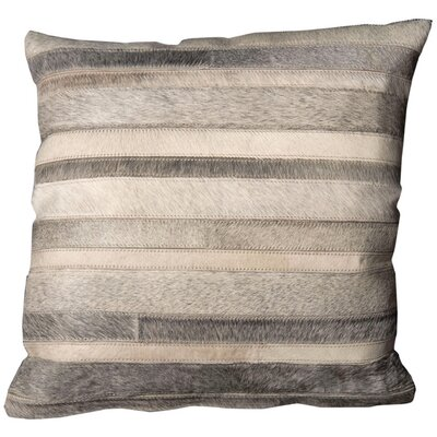 Natural Leather and Hide Stripes Throw Pillow Color: Grey