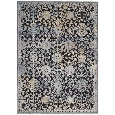 Verdant Black/Ivory Area Rug Rug Size: 79 x 99