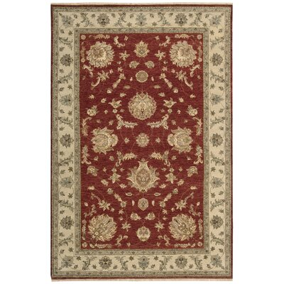 Degory Hand-Knotted Red Area Rug Rug Size: Rectangle 56 x 86