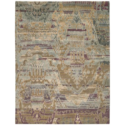 Mercado Hand-Knotted Mist Area Rug Rug Size: 99 x 139