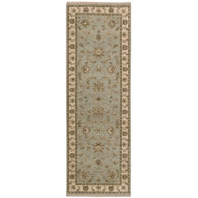 Degory Hand-Knotted Aqua Area Rug Rug Size: Runner 26 x 8