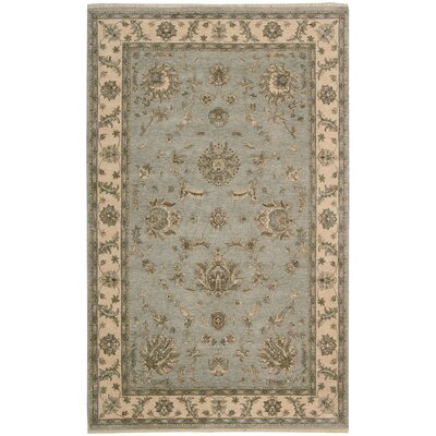 Degory Hand-Knotted Aqua Area Rug Rug Size: Rectangle 39 x 59