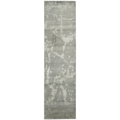 Silk Shadows Hand-Knotted Silver Area Rug Rug Size: Runner 23 x 8