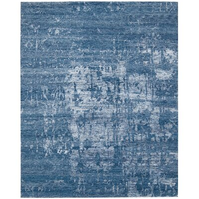 Silk Shadows Hand-Knotted Ocean Area Rug Rug Size: 56 x 75