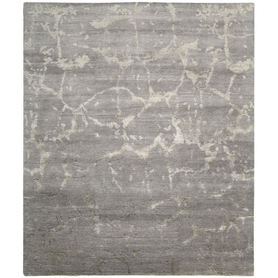 Silk Shadows Hand-Knotted Silver Area Rug Rug Size: 86 x 116