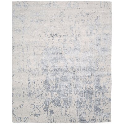 Silk Shadows Hand-Knotted Beige Area Rug Rug Size: 56 x 75