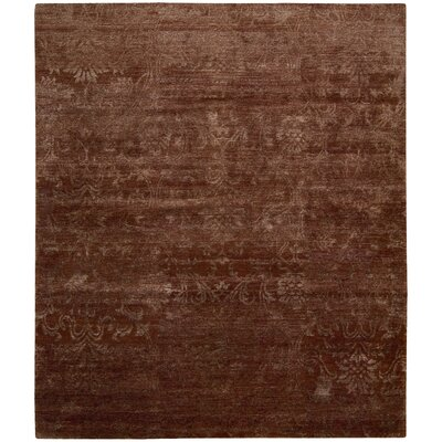 Silk Shadows Hand-Knotted Rust Area Rug Rug Size: 56 x 75