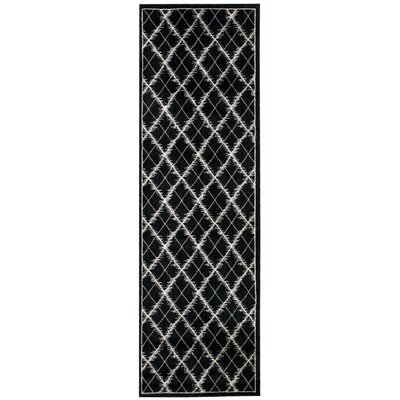 Galsworthy Black Area Rug Rug Size: Runner 22 x 76