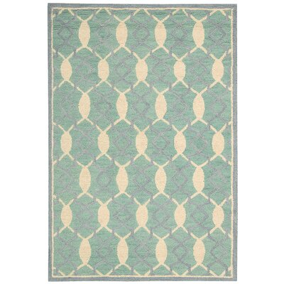 Charleston Hand-Tufted Aqua/Beige Area Rug Rug Size: Rectangle 5 x 76