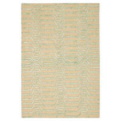 Jandreau Hand-Tufted Ivory/Green Area Rug Rug Size: Rectangle 5 x 76