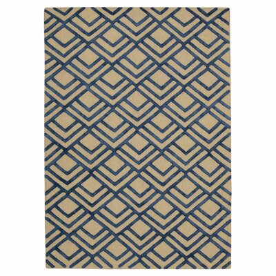 Jandreau Hand-Tufted Ivory/Navy Area Rug Rug Size: Rectangle 4 x 6