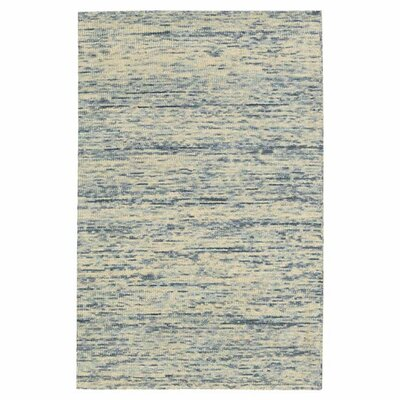 Sterling Hand-Tufted Cream/Blue Area Rug Rug Size: 5 x 76