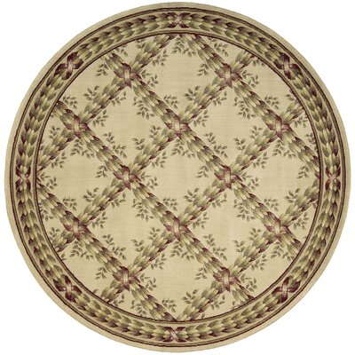 Fairchild Beige Floral and Plants Area Rug Rug Size: Round 56