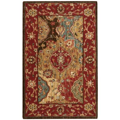 Living Treasures Wool Red Area Rug Rug Size: 19 x 29