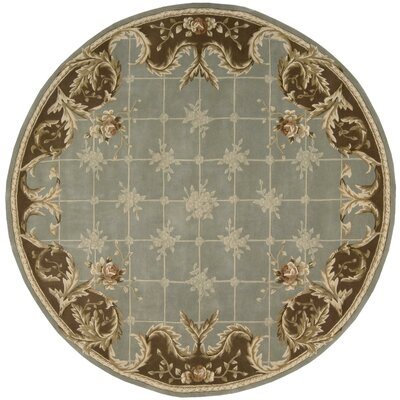 Abrial Blue Area Rug Rug Size: Round 6