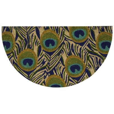 Pittview Peacock Feather Doormat Mat Size: 18 x 3