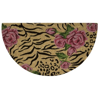 Pougkeepsie Animal Print Roses Coir Doormat Mat Size: Rectangle 18 x 3