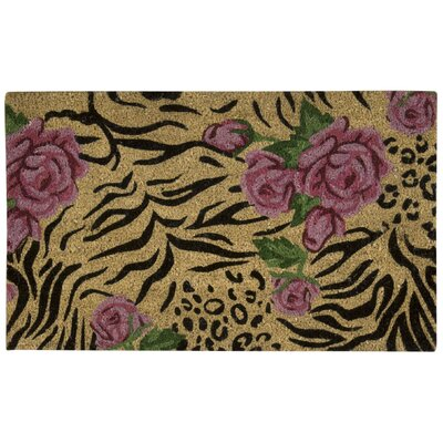 Pougkeepsie Animal Print Roses Coir Doormat Mat Size: Rectangle 16 x 26