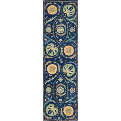 Suzani Hand-Tufted Blue Area Rug Rug Size: Runner 23 x 8