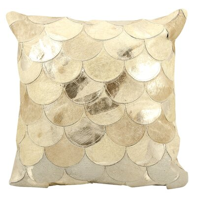 Rollinsford Leather Throw Pillow Color: Beige Gold