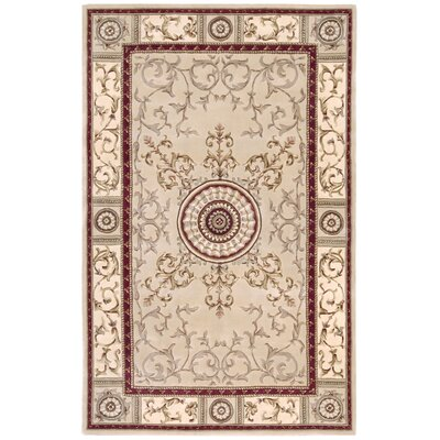 Versailles Palace Beige Area Rug Rug Size: 53 x 83