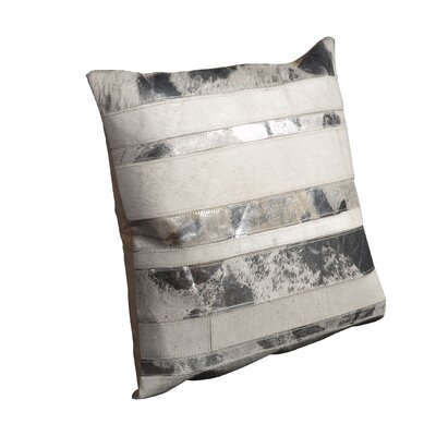 Natural Leather Throw Pillow Color: White