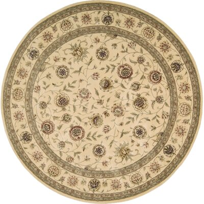 Hand Woven Wool Ivory Indoor Area Rug Rug Size: Round 6