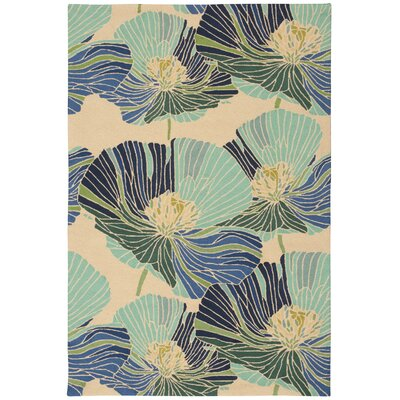 Athema Hand-Hooked Blue/Green/Beige Area Rug Rug Size: Rectangle 36 x 56